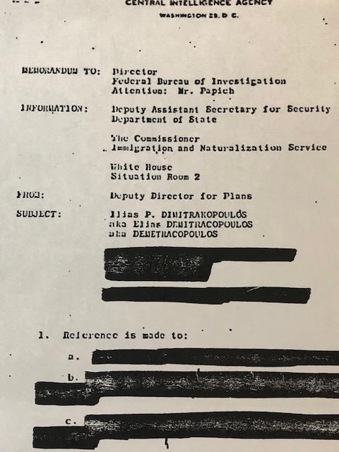 Heavily redacted intelligence file document