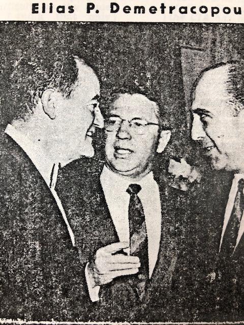 Vice President Hubert Humphrey (L) and Senator Vance Hartke (C)